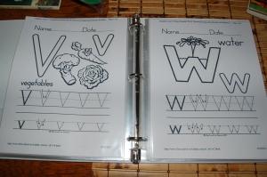 dry-erase alphabet binder