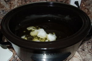 weighed oils into crock pot