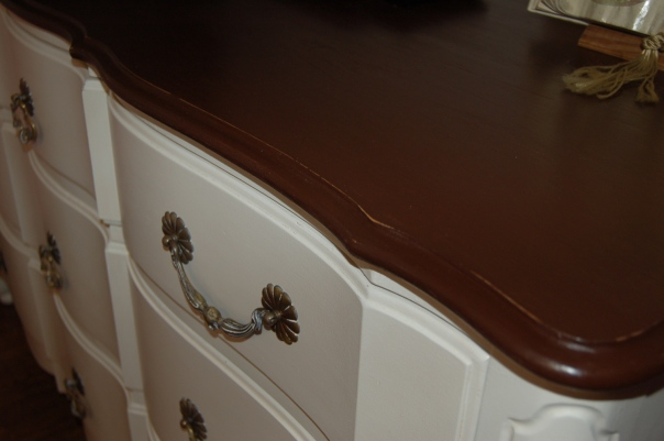 chalk painted dresser with dark top