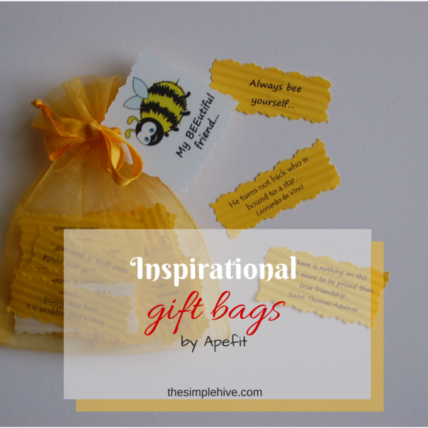 Inspirational gift bags by Apefit.  Beautiful messages for 30 days of #encouragement. - thesimplehive.com